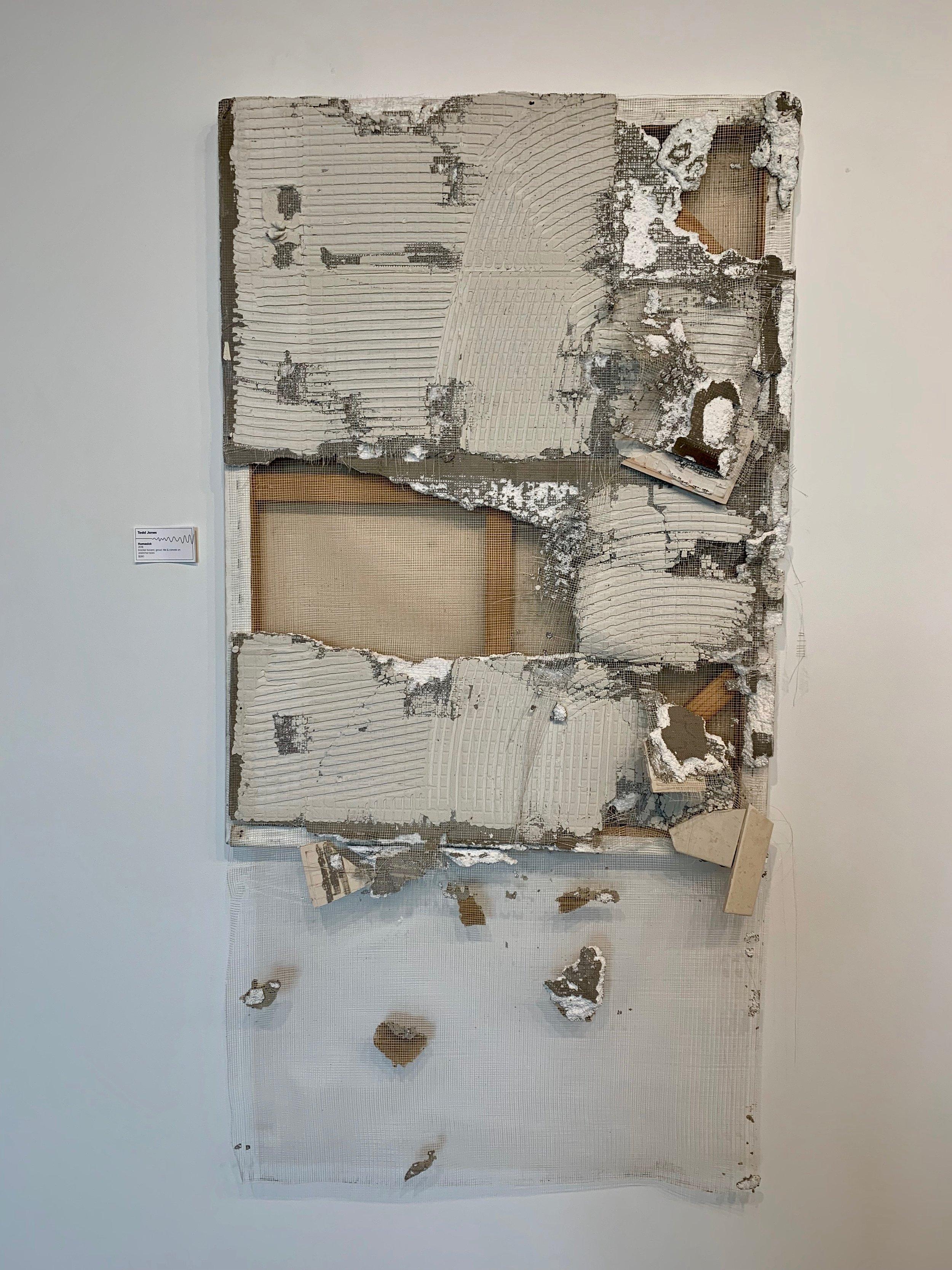 Todd Jones,  Homesick , 2018, backer board, grout, tile & canvas on stretcher bars