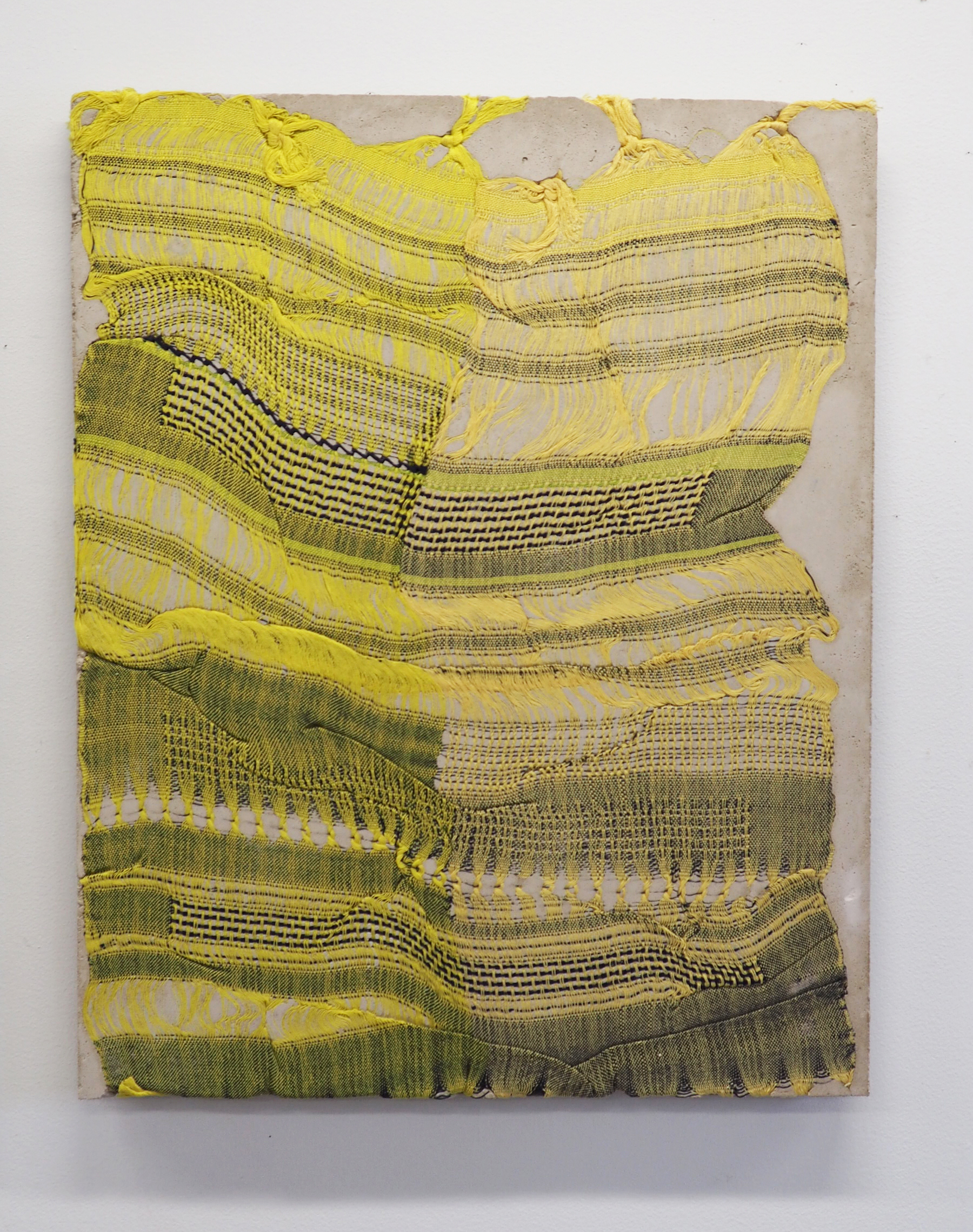 "Crystal Gregory, ""Fold, Enfold, Unfold"" (yellow-yellow-navy)"