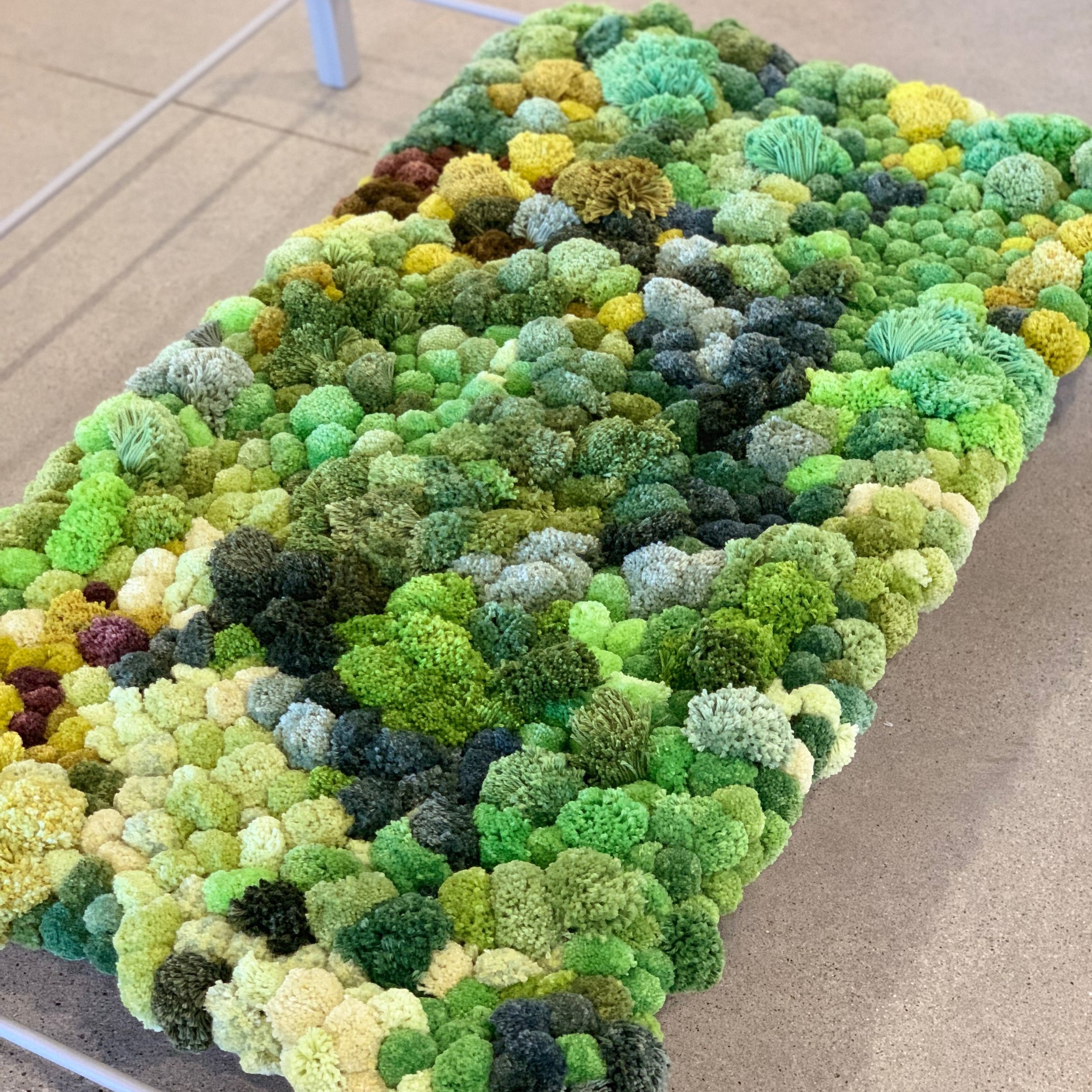 Emily Sullivan Smith,  Placeholder for Posterity: Color Portrait of the Forest Floor , 2019, hand dyed cotton / bamboo yarn, nylon thread, wool, $10,000
