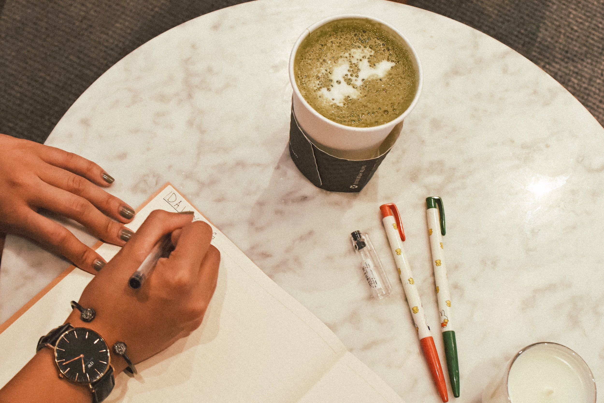 Matcha Tea Latte, Matcha Lover, Writing, Writer, Muji Pens