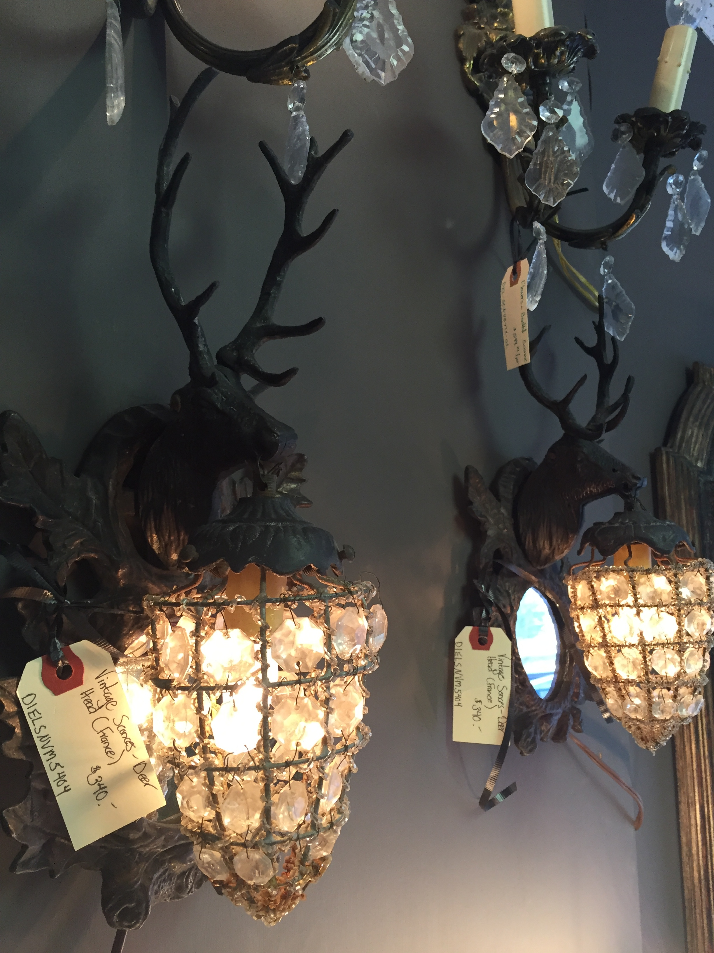 Vintage beaded Deer Head Sconces (2) each missing 1 ear. France. 1930's.JPG