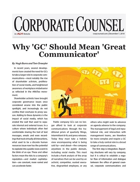 Corporate Counsel article co-authored by Founding Partner Hugh Burns