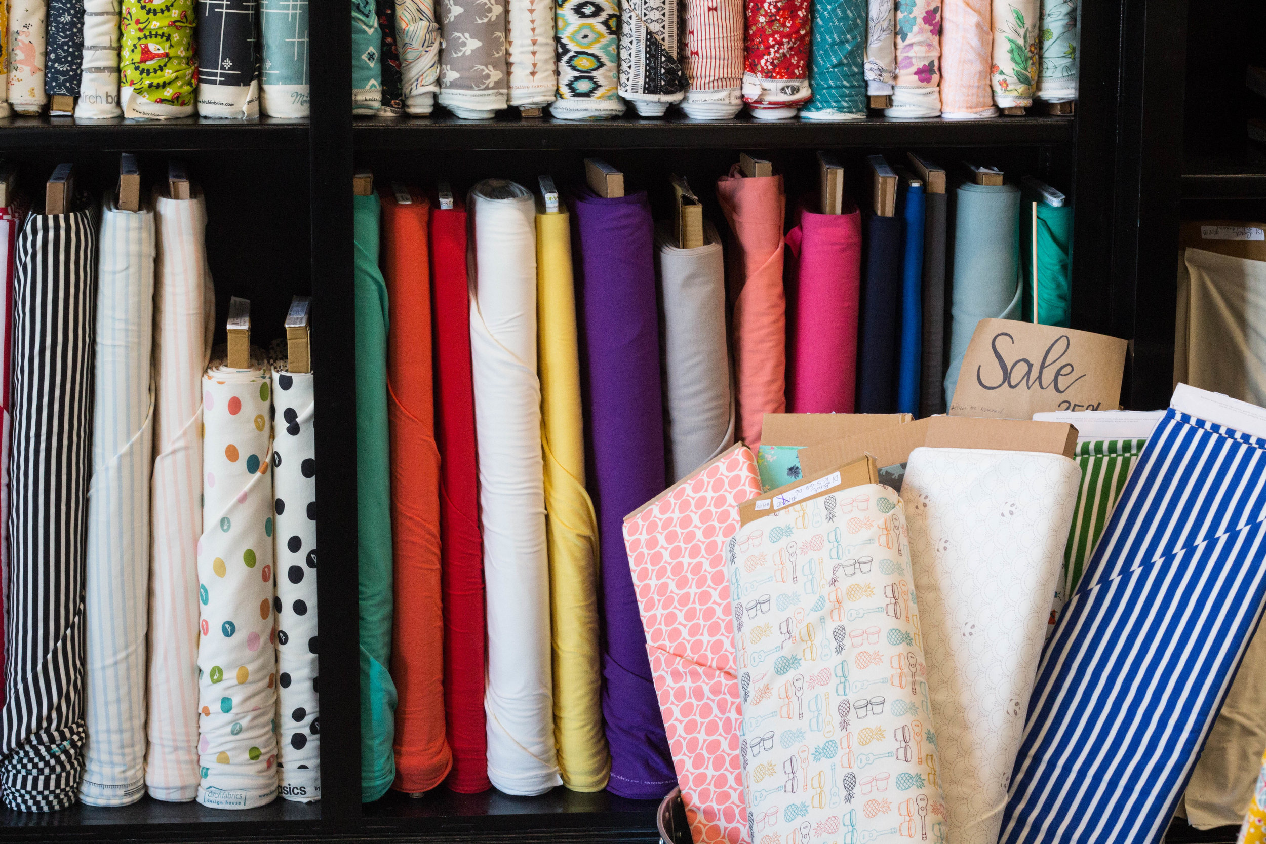 Quilting - We specialize in fabrics, patterns, and notions for modern quilting. We stock fabric from Art Gallery, Cotton + Steel, Moda, Free Spirit, Riley Blake, Robert Kaufman, and more. We have a large selection of quilting patterns, rulers, and specialty notions to make quilting easy and fun. We are proud to sell AccuQuilt cutting machines and dies and we encourage you to come in the shop and try one out before you buy! We offer a range of traditional and modern quilting classes, from introductory quilting to advanced techniques.