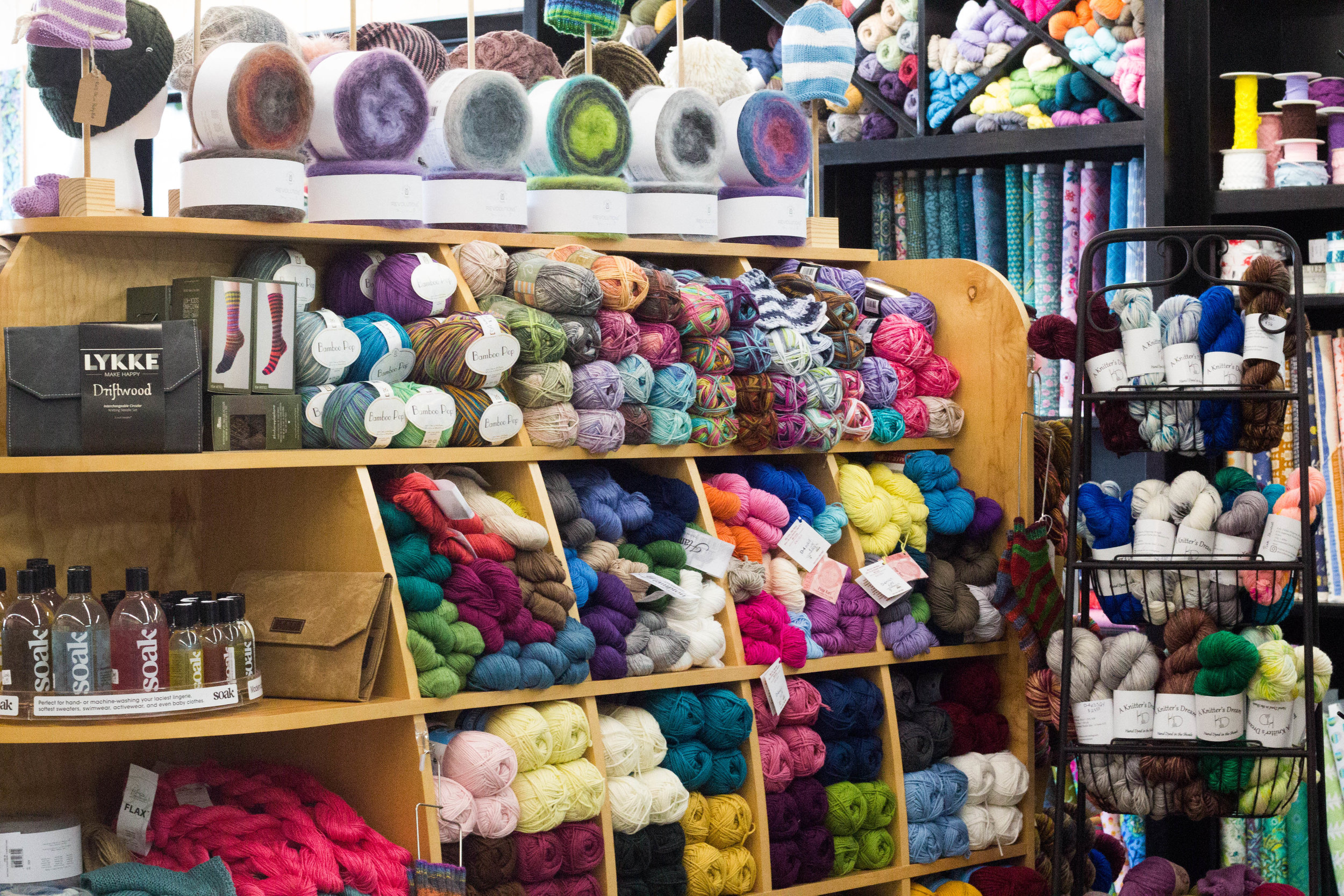 Yarn - We offer a wide selection of yarn from major brands, including Berroco, Cascade, Plymouth, and Universal, as well as indie-dyers such as Big Sky Yarn Co., Hedgehog Fibres, and Urth. We have everything from fingering weight to bulky for whatever your next project may be. We also stock the latest kits for socks, baby gifts, and scarves. Our needles and specialty notions include selections from Lykke, HiyaHiya, and Cocoknits. We are a Ravelry Pro store, which means any Ravelry pattern you purchase at Thread supports both the designer and your local knit shop. Join us the 2nd and 4th Tuesday of each month from 5 to 7pm for Knit Night, and check our calendar for knitting and crochet classes for crafters of all levels.