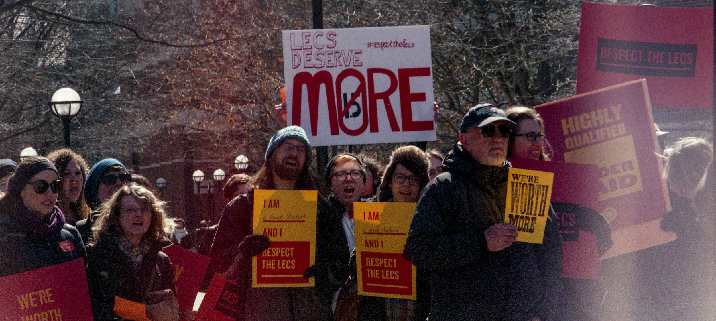 Lecturers and allies rallying in March 2018