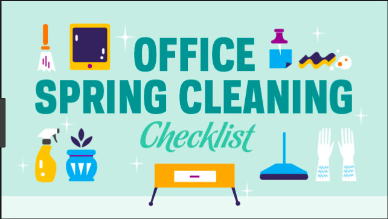"Mid-Century-looking graphic of spring cleaning tools and office icons with the words ""Office Spring Cleaning Checklist"""