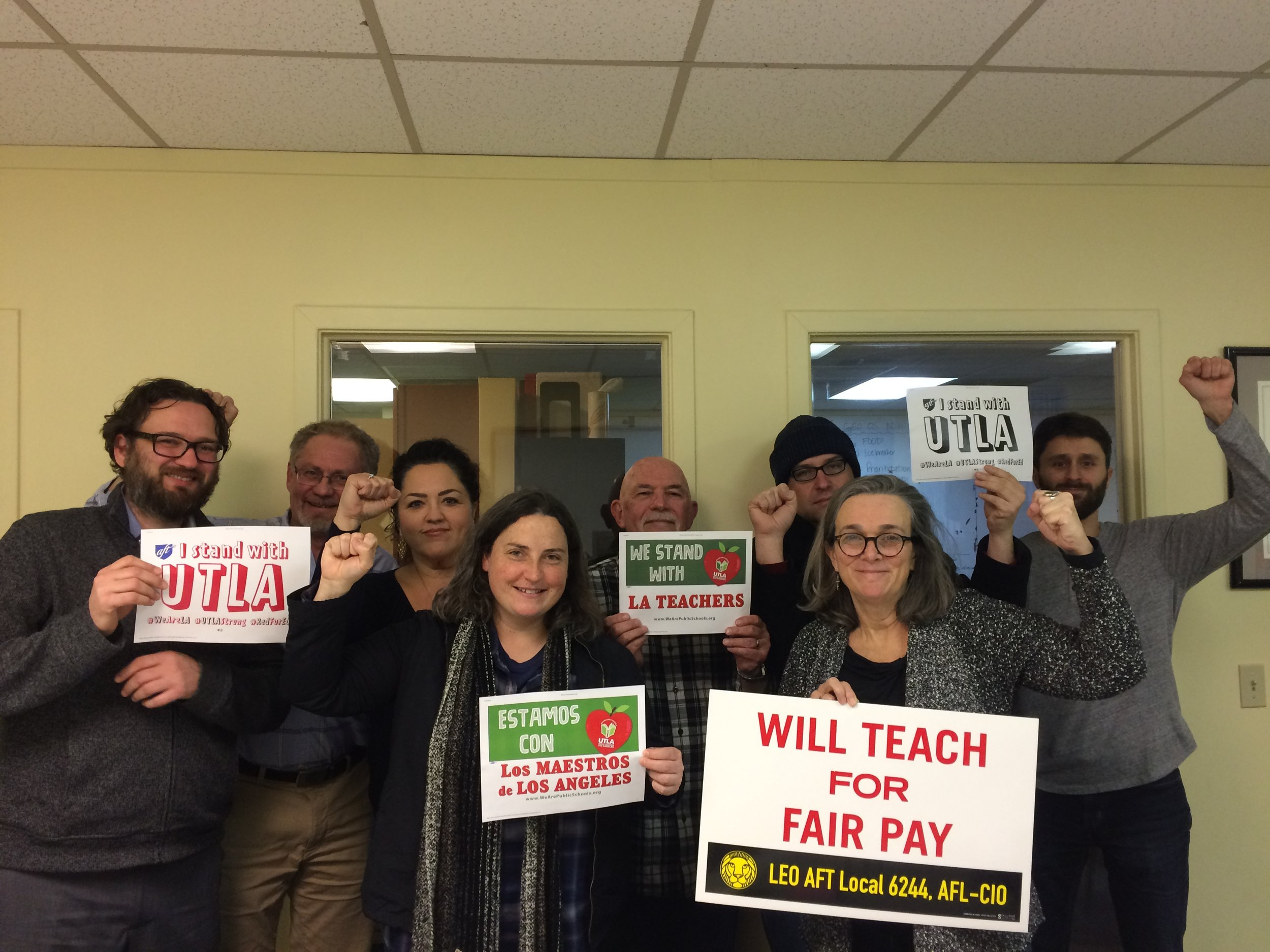 LEO AFT Local 6244's Union Council (and a couple of organizers) send #solidarity and love to  United Teachers Los Angeles