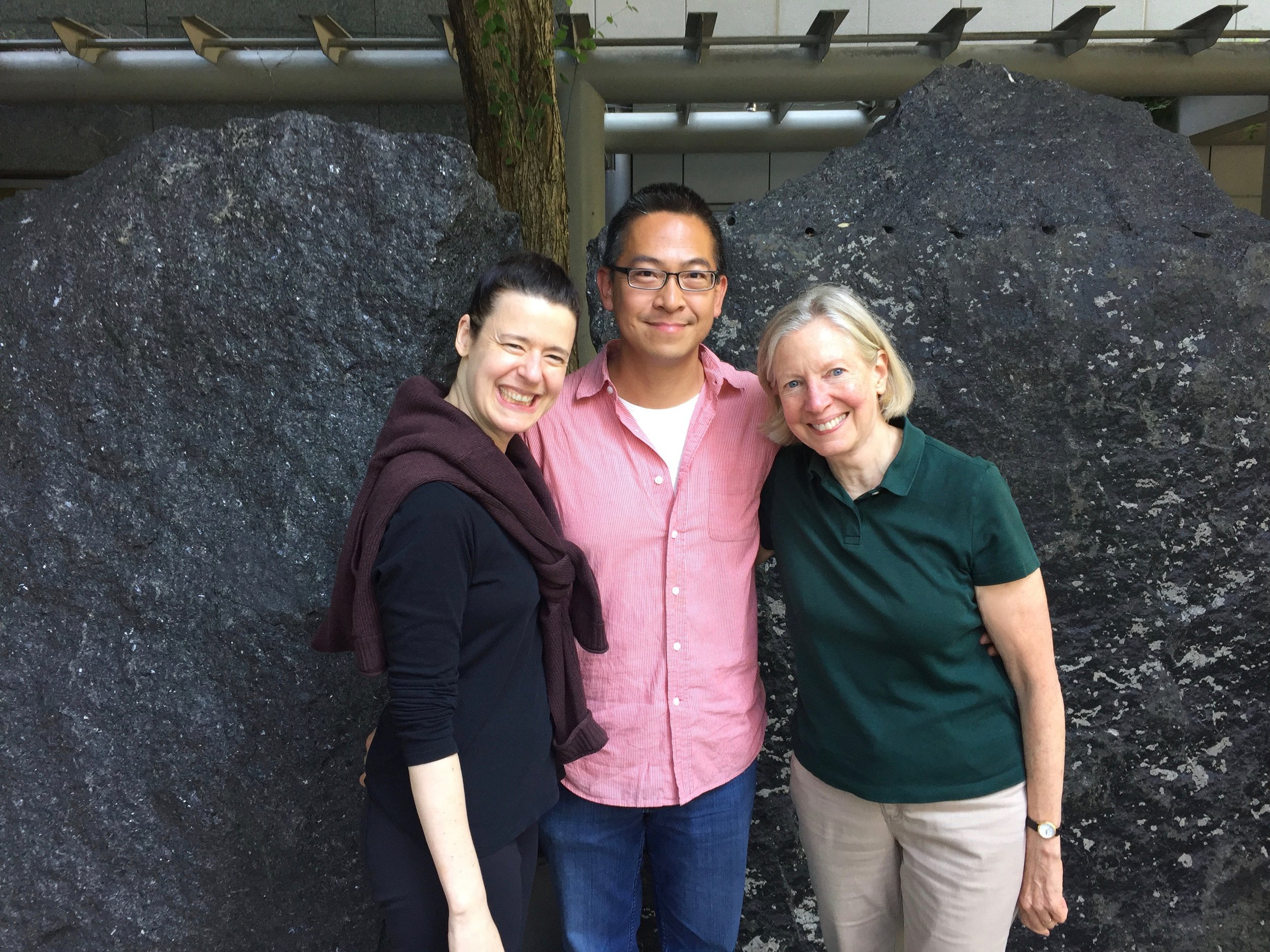 L to R: Melia Watras, Cuong Vu and producer Judith Sherman after the recording session for  Porch Music.   Photo by Michael Jinsoo Lim