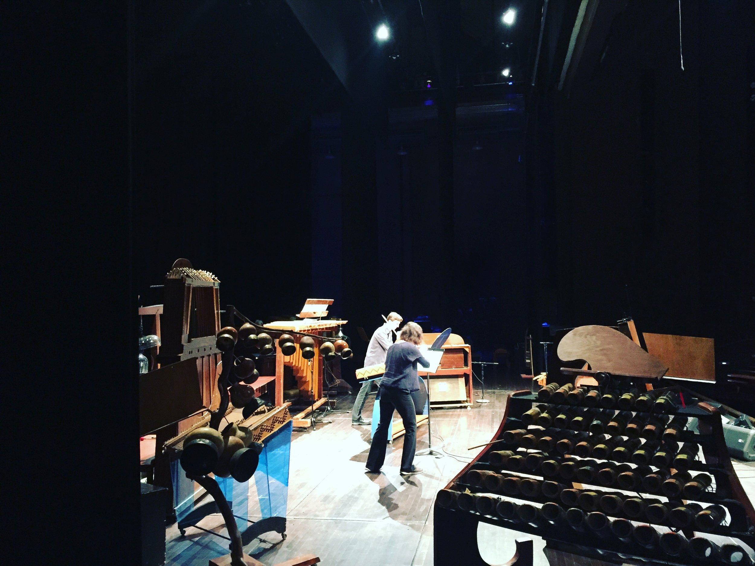 Melia Watras and Charles Corey rehearsing  In Paradisum  Photo by Michael Jinsoo Lim