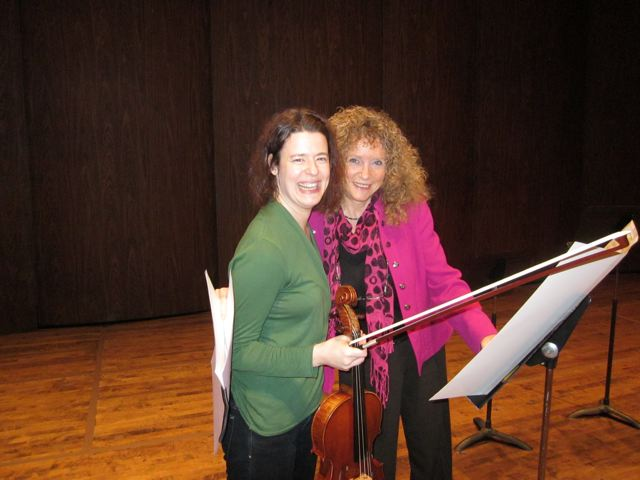 Melia Watras and Shulamit Ran in rehearsal. Photo by Michael Jinsoo Lim