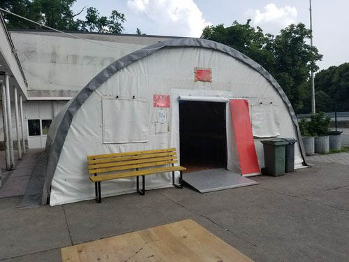 Refugee tent in Serbia.