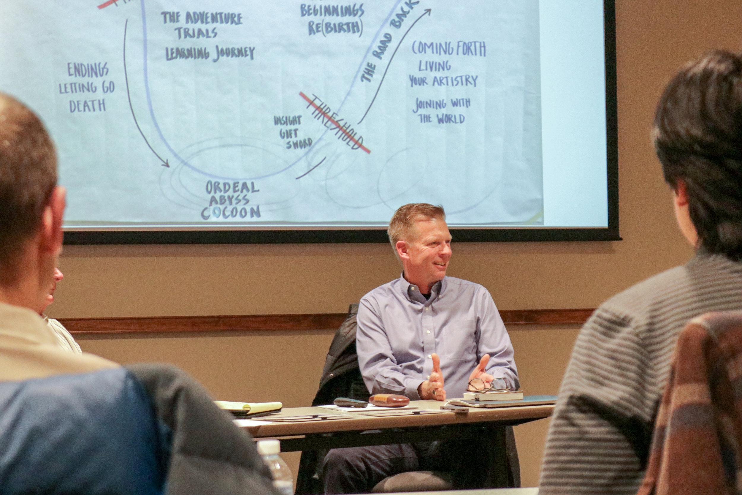 Jim Marsden speaking about design thinking with PLA Alumni