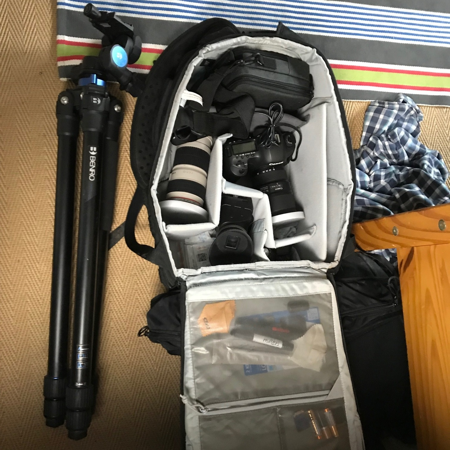 A messy bag after a day out with the camera!