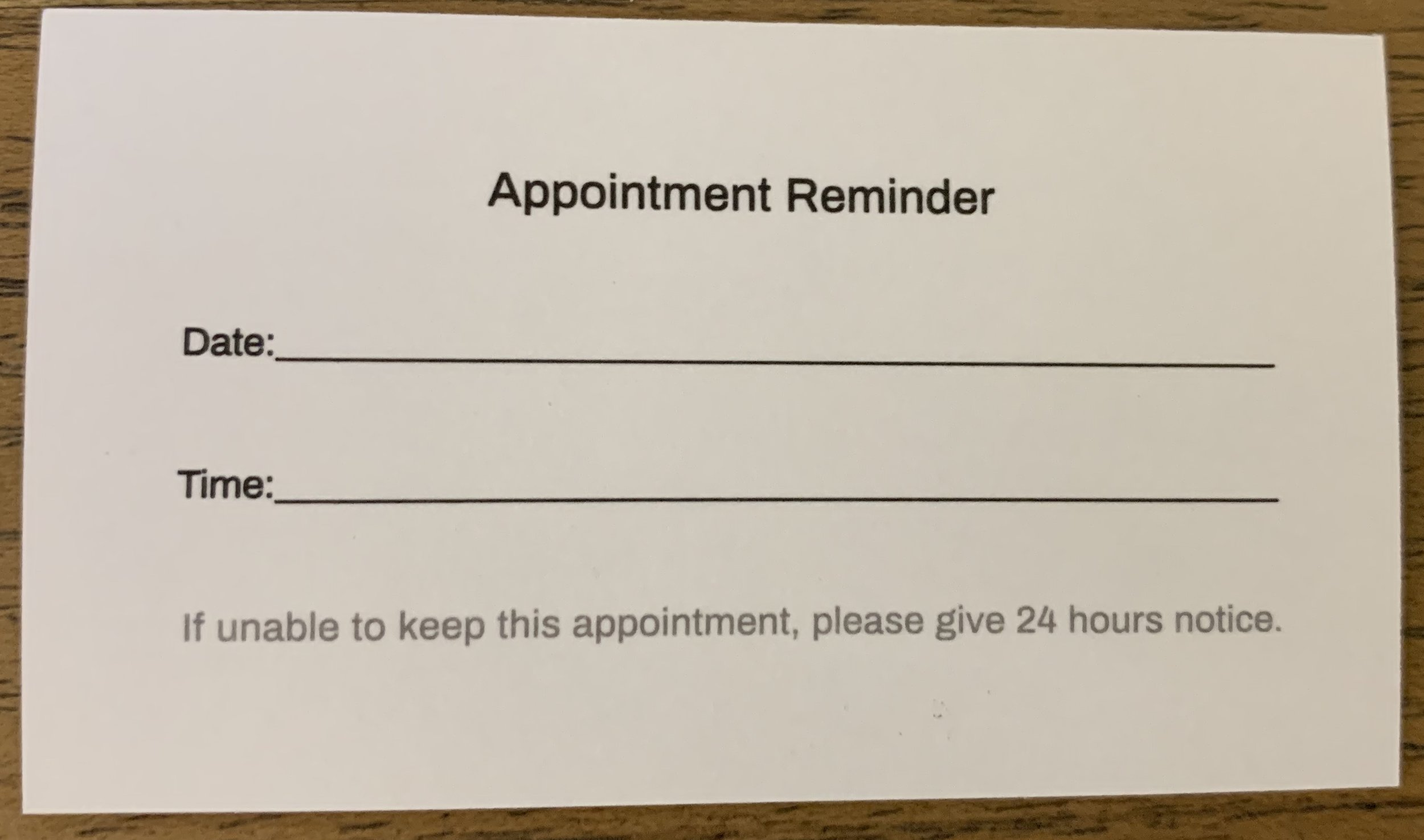 Private Practice Appointment Reminder Card