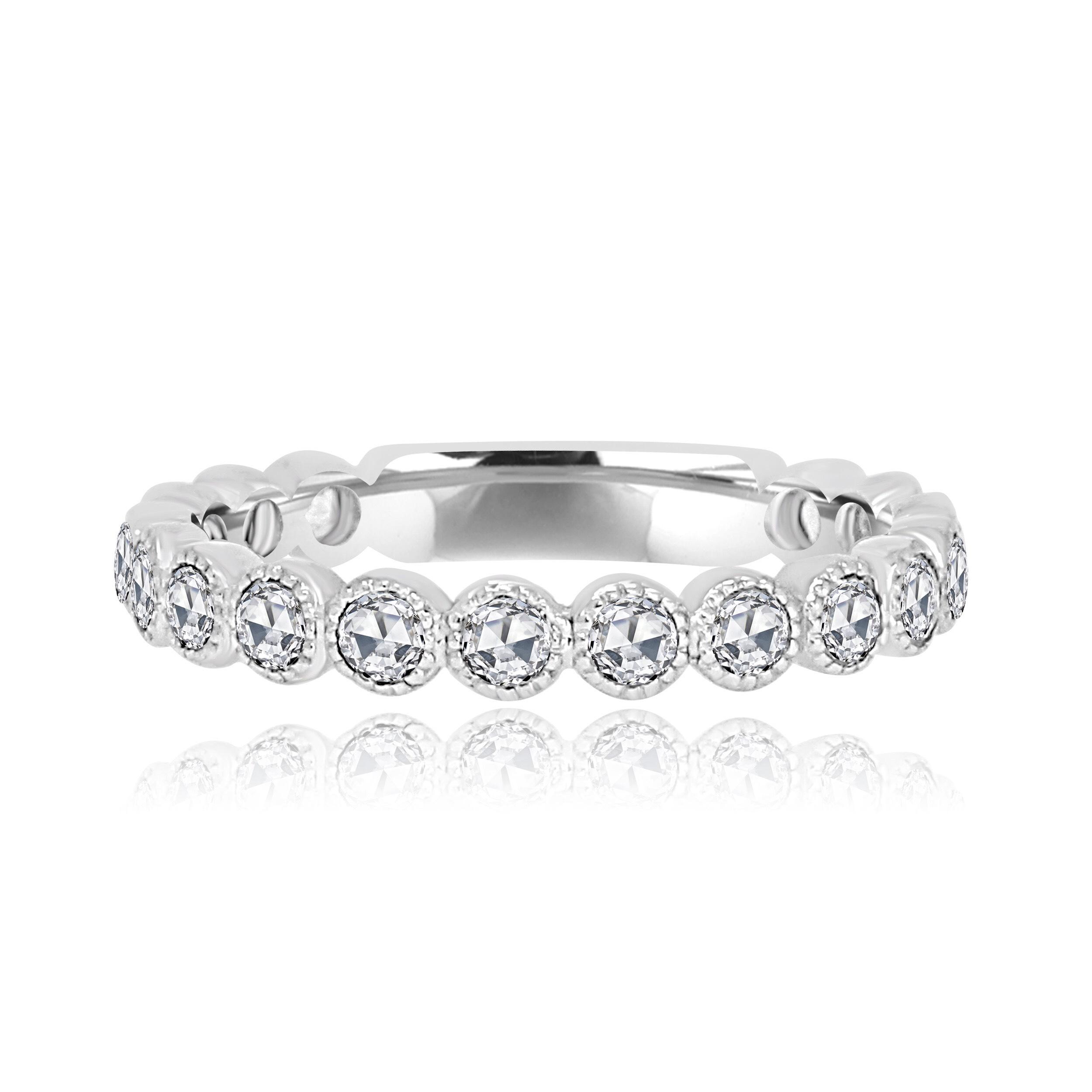 Rose Cut White Gold Diamond Stackable Ring.jpg