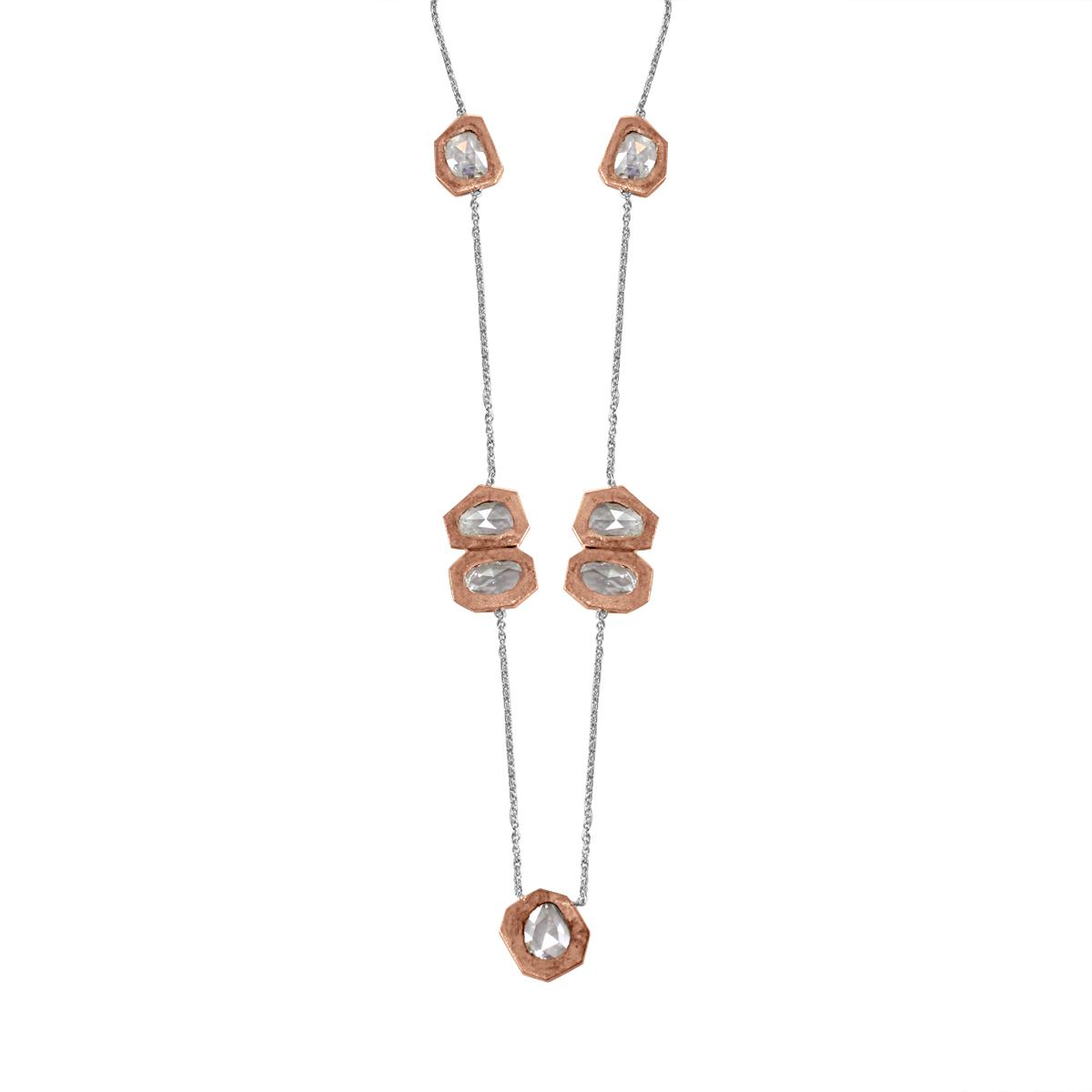 Rose Cut Diamond Rose Gold Necklace.jpg