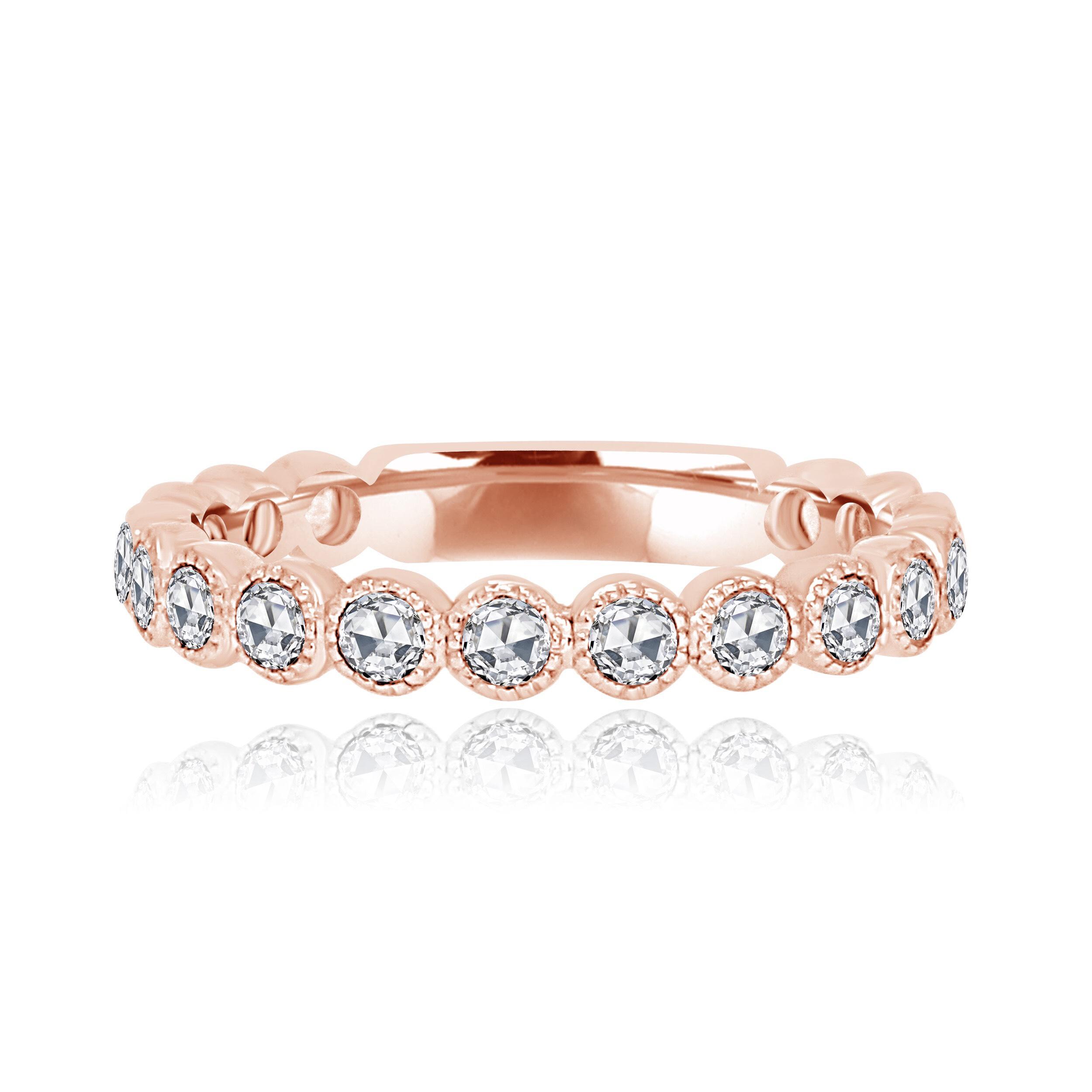 Rose Cut Rose Gold Diamond Stackable Ring.jpg