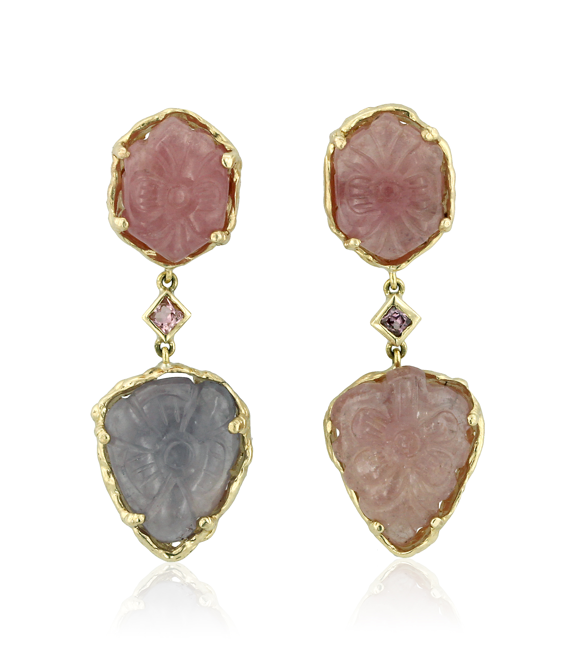 Tourmaline and Sapphire Carved Earrings.jpg