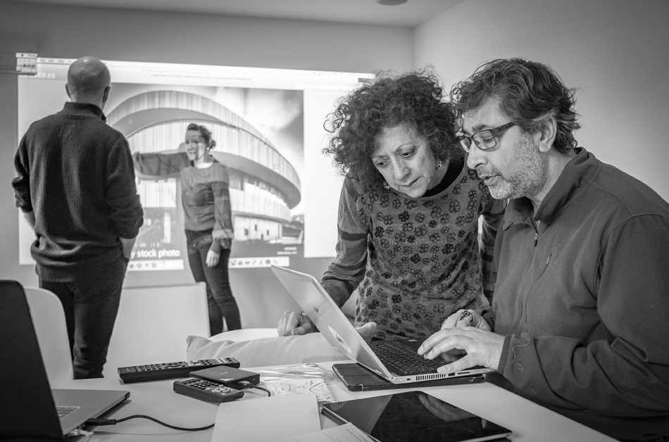 Diana Scarborough and collaborators at The Studio during her Time To Stare Bursary residency in February 2019