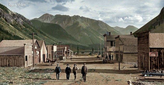 Photo recolorisée - vers 1873 - Eureka, Colorado - Source N&B: https://westernmininghistory.com
