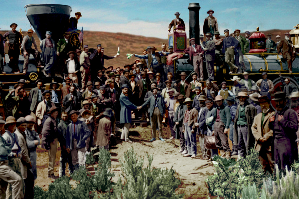A.J. Russell's famous picture, Meeting of the rails - Promontory Point - Utah - 1869 - source reddit.com