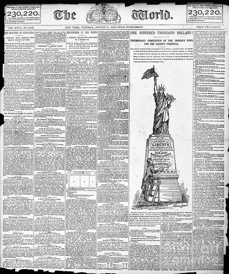 e fameux article publié dans le New York World en 1885, célébrant la réussite triomphale de la campagne de financement
