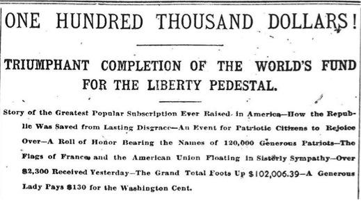 Détail de l'article du New York World - 1885. 120 000 donateurs se sont mobilisés, et la somme de 102 006,39 dollars a été récoltée