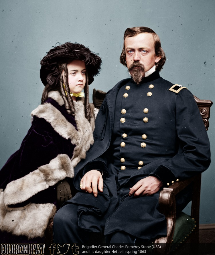photo: Charles P. Stone et sa fille - photo colorisée - 1863 - source: colorized past
