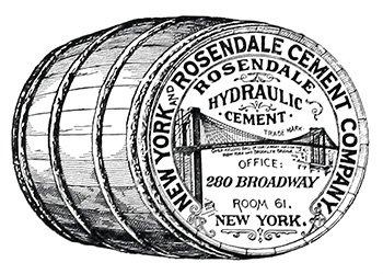 Les ciments Rosendale - NYC - utilisés pour la construction du socle - source:  ici