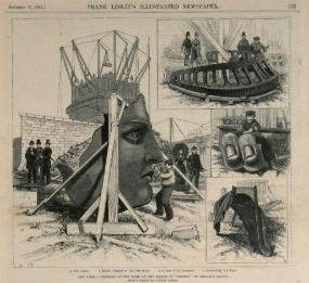 """An illustration of the """"rise"""" of the Statue of Liberty from Frank Leslie's Illustrated Newspaper, October 17, 1885. National Park Service, Statue of Liberty NM"""