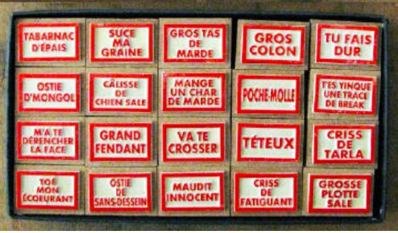 """Les tampons """"insultes québécoises"""" avec le célèbre tampographe Sardon ! Vente en ligne  ICI :"""