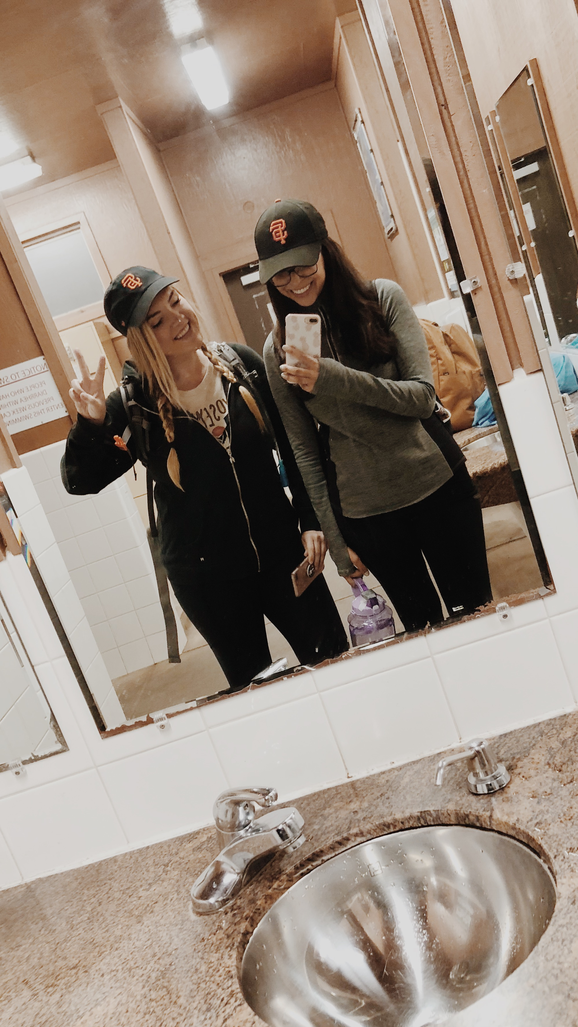 all smiles at the beginning of our trail at the Half Dome Village bathroom before our smiles disappeared lollll