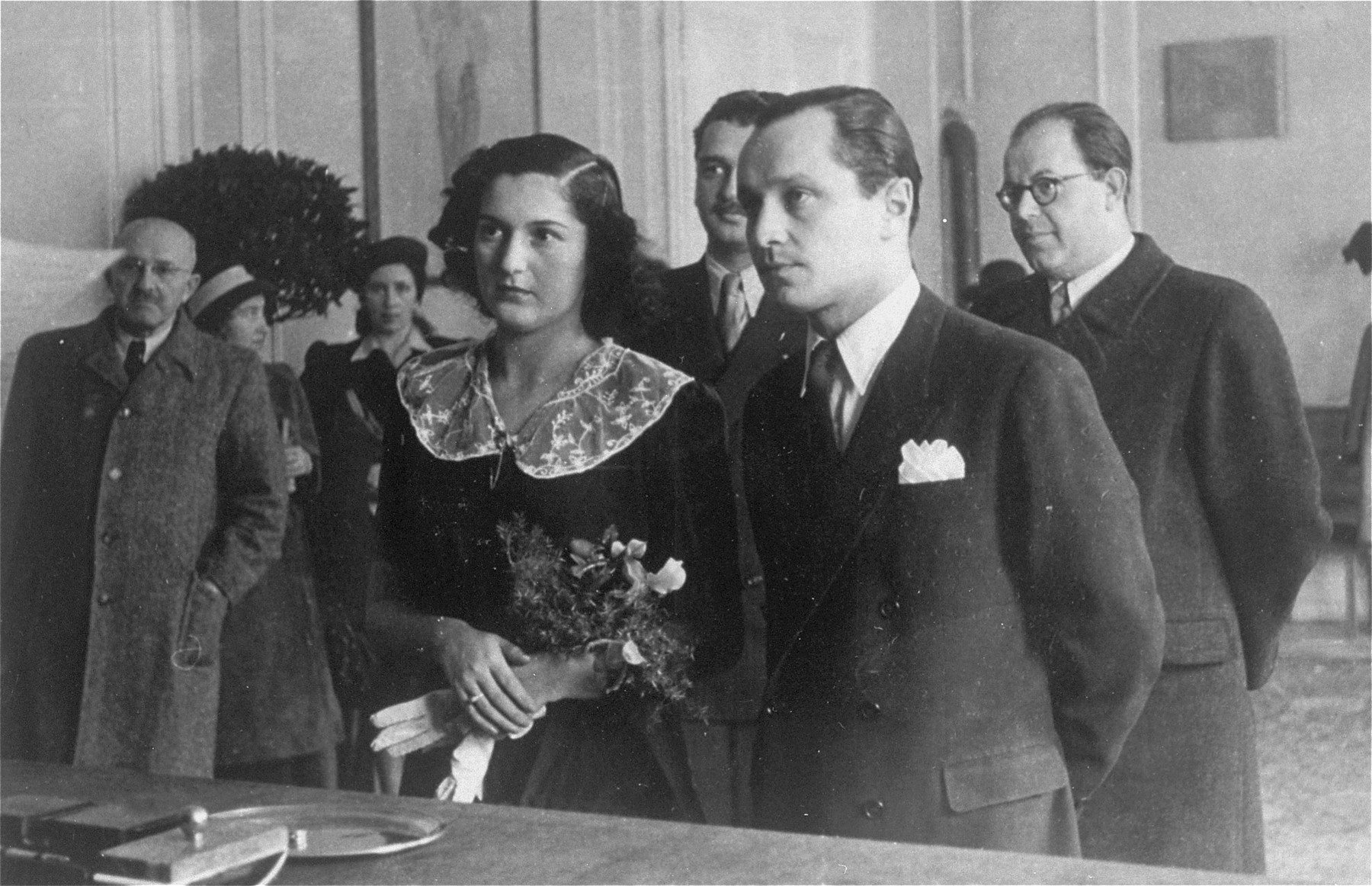 The marriage of Czech-Jewish survivors Frantisek Kohn and Gertie Gans before a judge at the city hall in Prague, image courtesy of United States Holocaust Memorial Museum