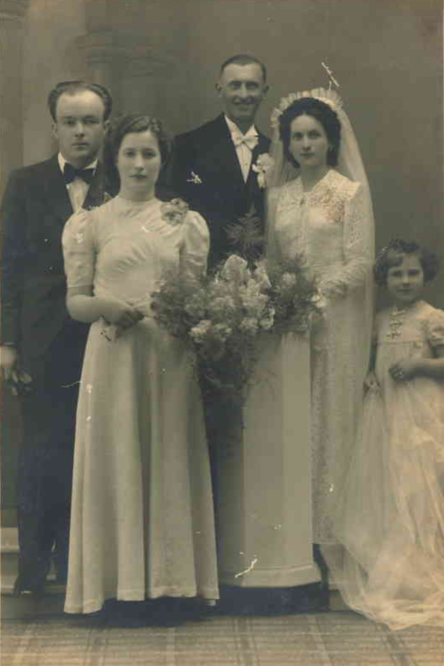 Author's mother (on the right) on her wedding day