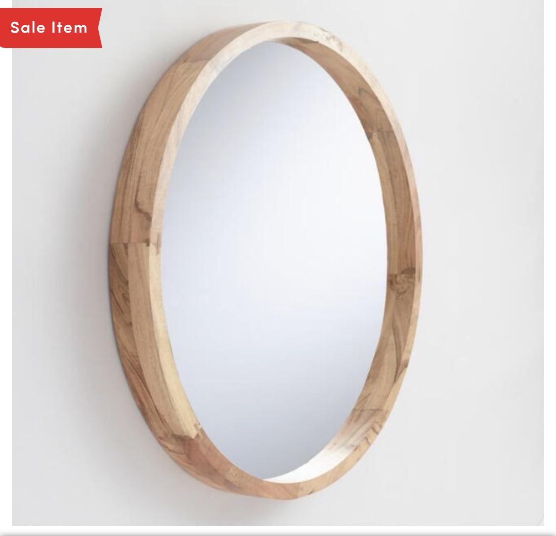 Round Wooden Mirror -