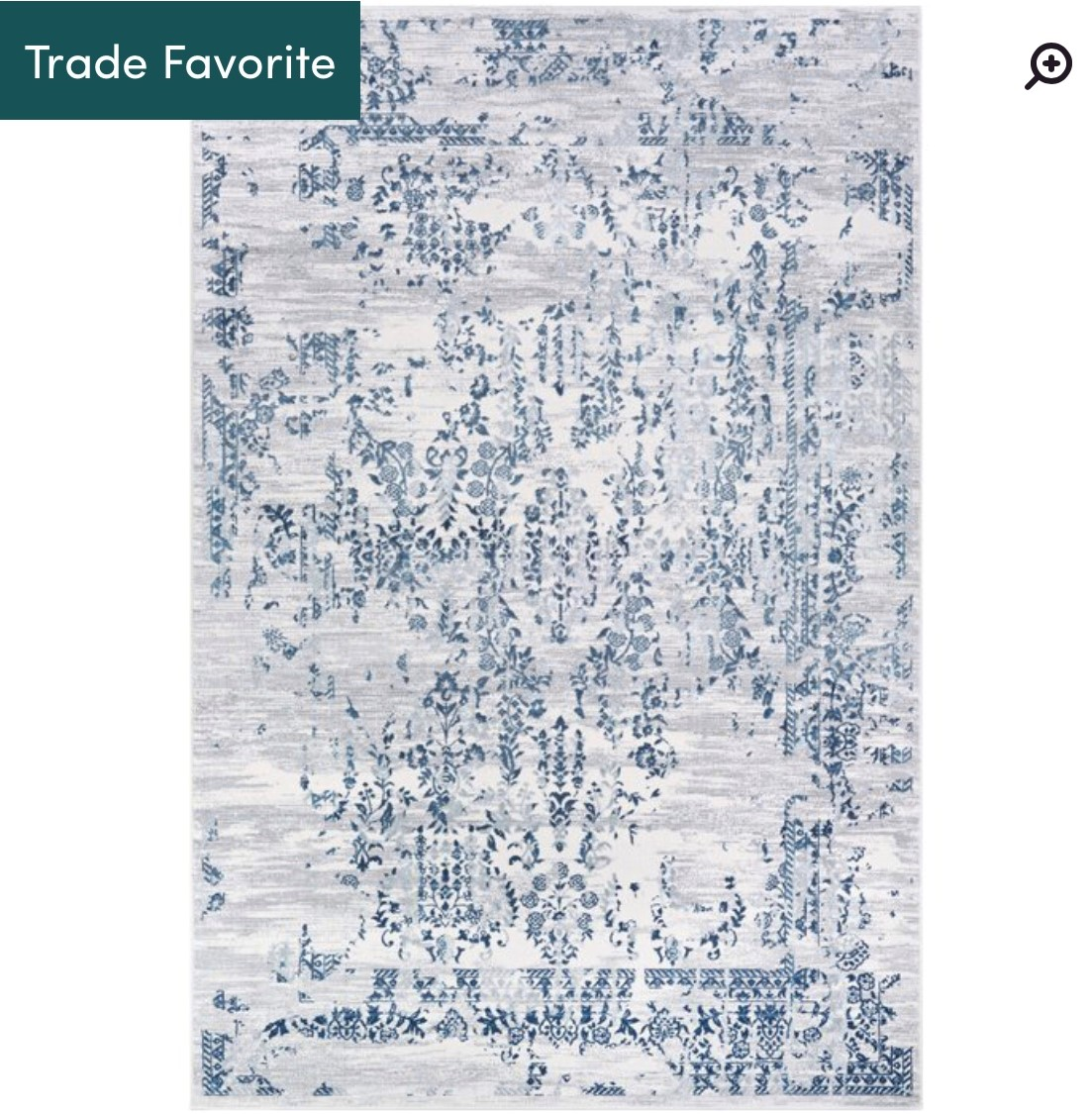 Jake Steele Blue Rug (Cream, light and medium gray, and navy) This rug is in my living room. -