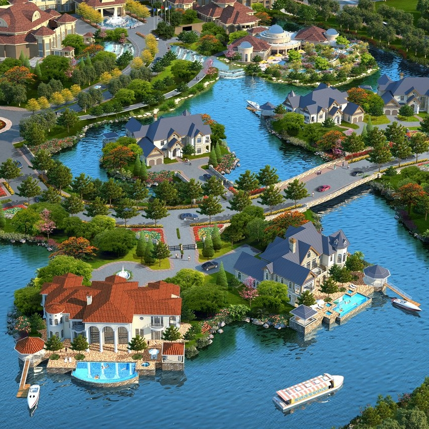 WEIFANG BINHAI RESORT ISLAND VILLAS    Weifang, Shandong, China   Set in the lagoon of the Weifang Binhai Resort, these island villas expand the guest experience of the hotel resort into the highest tier of luxury accommodations. These waterfront villas include ample pool decks equipped with boat docks for private boats to ferry guests directly to the hotel lobby dock.