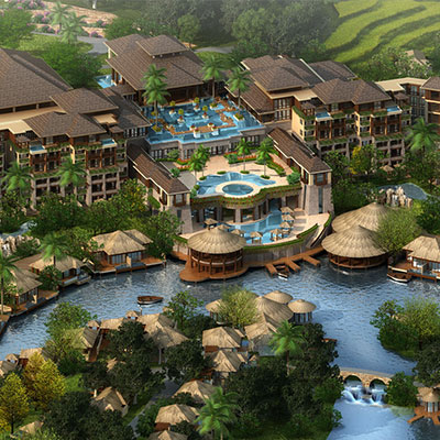 DE RUCCI REGAL PALACE LA LUMIERE HILLSIDE RESORT    Huizhou, Guangdong, China   The resort will be the flagship resort of the De Rucci luxury lifestyle brand. The design is inspired by the grace and beauty of tropical Southeast Asian island architecture. The resort aspires to be the physical embodiment of good health, stress-free living and mindfulness through the masterful use of materials, color, details and planning.