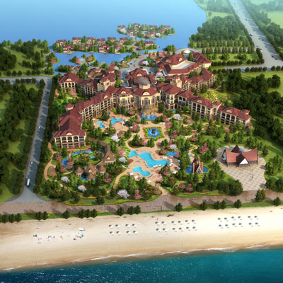WEIFANG BINHAI RESORT    Weifang City, Shandong, China   Set amongst the tranquil waters of a sprawling system of lagoons like the giant mythic sea-turtle that inspired the design, Weifang Binhai Resort will be home to a 299-room luxury hotel, ballroom complex, indoor spa, wedding chapel, garden maze, mini golf and gourmet restaurants.
