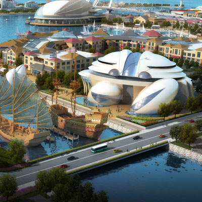 MARITIME EXPERIENCE PARK    Weifang, Shandong, China   The park will be an international attraction comprising a cutting-edge oceanographic museum, a dramatic bridge and an angling clubhouse, all inspired by distinctive nautical and oceanic imagery.