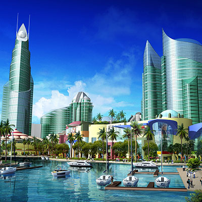 "PALLADIUM SHORES ON ""A2"" ISLAND    Danga Bay, Johor Bahru, Malaysia   Stretching along three miles of prime waterfront real estate, Vision City will be a modern, global financial capital complemented by world calibre attractions and a vibrant waterfront community in a lush tropical garden setting."
