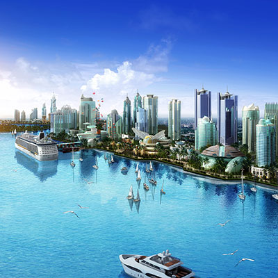 VISION CITY    Danga Bay, Johor Bahru, Malaysia   Stretching along three miles of prime waterfront real estate, Vision City will be a modern, global financial capital complemented by world caliber attractions and a vibrant waterfront community in a lush tropical garden setting.