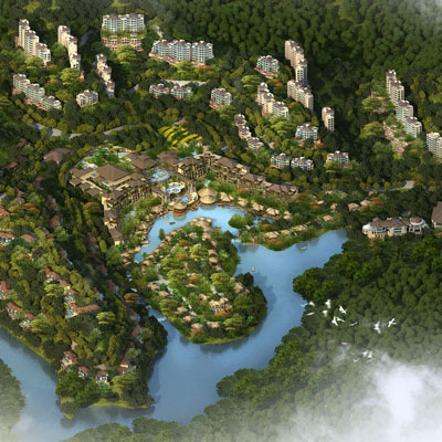 NAN KUN SHAN ECO-HEALTH RESIDENCES    Huizhou, Guangdong, China   Tucked into the lush mountainsides around the resort will be the Eco-Health Residential Development, comprising an exclusive resort community of villas and apartments. The resort community will promote sustainable practices and healthy, wholesome living.