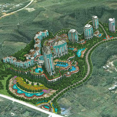 LONGMEN REGAL PALACE HILLSIDE GARDEN    Huizhou City, Guangdong, China   Represents a new vision of residential-resort development that skillfully blends the spectacular modern resort and condominiums, the small-scale European styled neighborhood villas and the bucolic farmland setting into a fresh contemporary community.