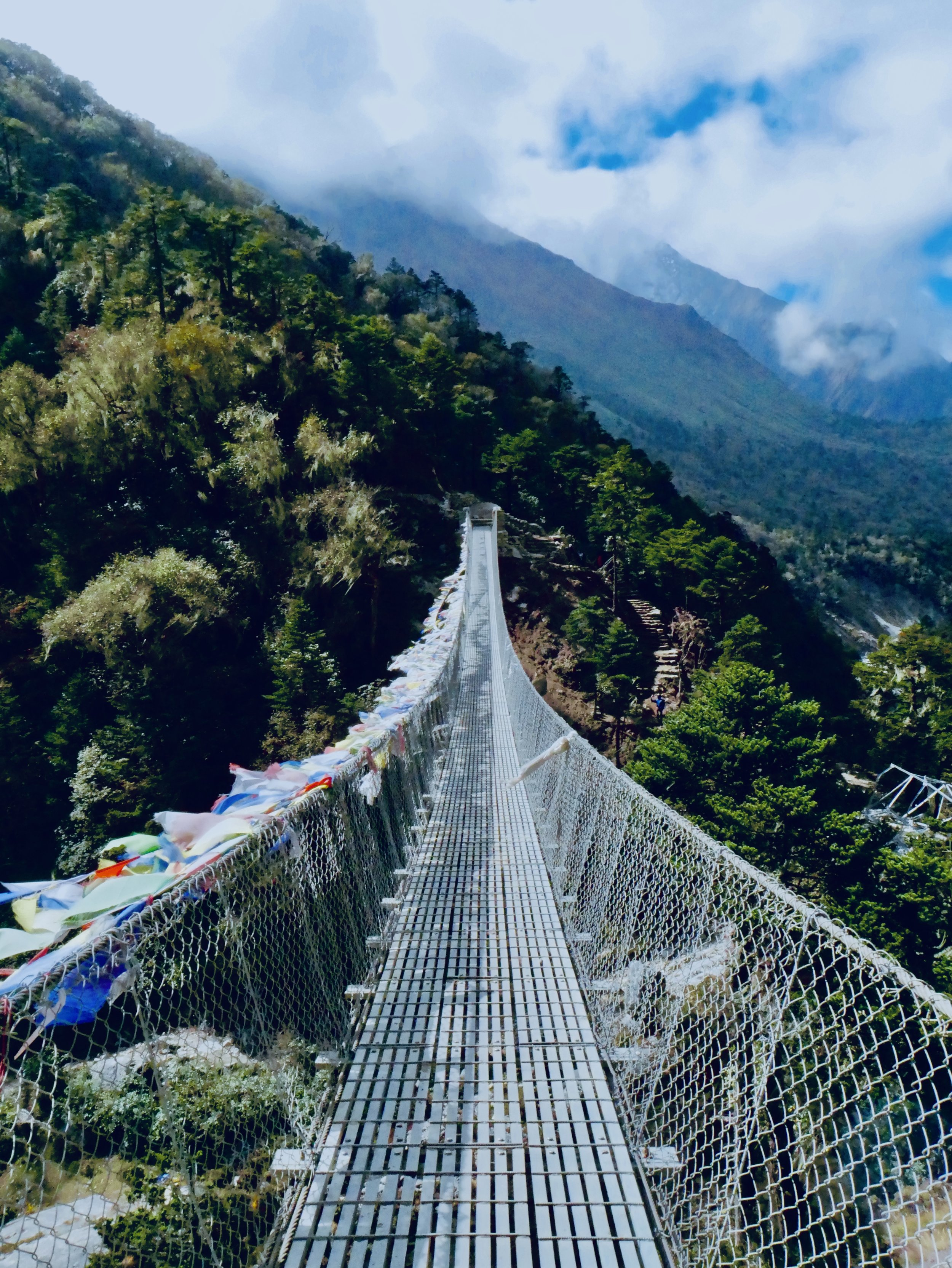 One of many suspension bridges in the Everest Region of Nepal on the way to Everest Base Camp