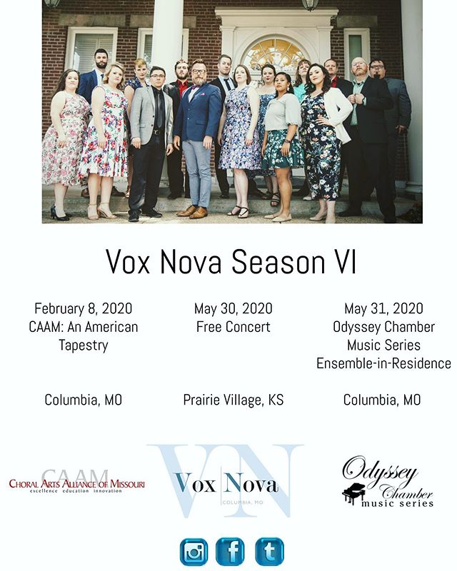 Season 6 preview!  We are thrilled to share a concert with the Columbia Chamber Choir in February!  We are equally excited to return to the beautiful Asbury United Methodist Church in May to give a free concert, and to end our season with our friends over at the Odyssey Chamber Music Series.  For more information, follow this page! And if you want to be the first to find out exciting news, consider donating to our Patreon! All patrons find out news before the general public! https://www.patreon.com/voxnovacomo