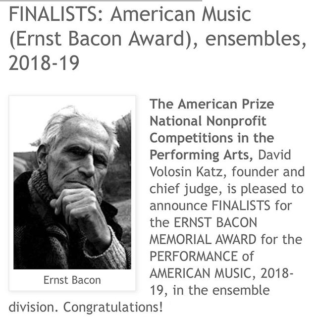 Excellent news! Vox Nova has just been chosen as national finalists in the professional division for performance of American music (Ernst Bacon Award). We love performing, celebrating, and championing American music, so this is quite an honor for us!