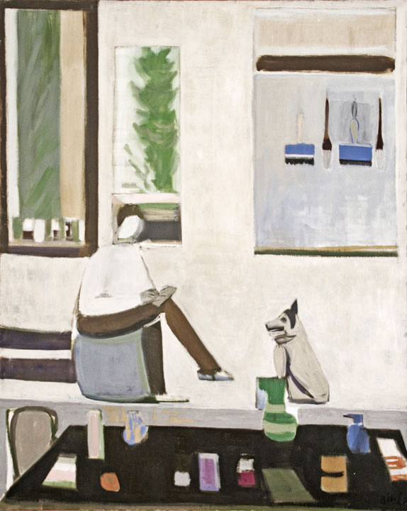 Blue Interior with Man and Dog, 1979