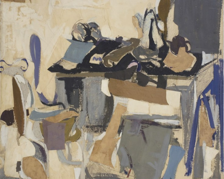 Biala, Table Chargee (fond fonce a droite), 1963, collage, pencil, oil on canvas, 51 1/2 x 45 inches