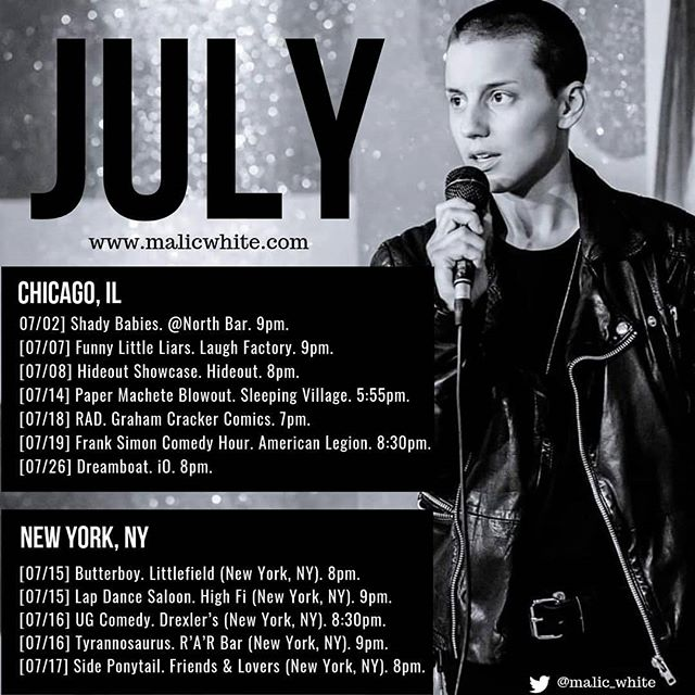 I'm keeping July nice and light to focus on writing new stuff, but hey I'm coming to NY next month for three delicious days!!! Come and see me! 📸@tuxedocat.comedy . . . . . . . . . . . #comedy #standup #standupcomedy #comedian #chicagocomedy #queercomedian #queercomedy